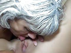 Granny lesbian eats out her younger partner