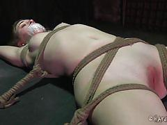 milf, bondage, bdsm, brunette, tied up, sex toy, pink pussy, ropes, duct tape, clothespins, mouth gagged, shibari, hard tied, mattie borders