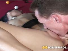 Sexy brunette gets assfucked on the pool table