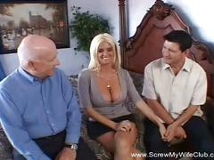 Blonde slut wife big tits swinger