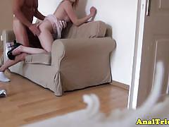 Tattooed pussy gets her ass lubed and fucked.