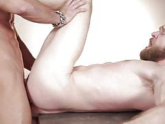 riding cock, gay anal, bald guy, bearded guy, muscled gays, on the table, cock stroking, gods of men, men, colby keller, antonio aguilera