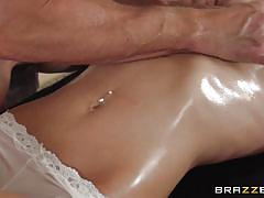 Oiled babe gets a special treatment