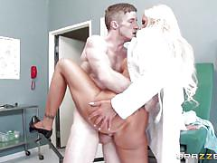 Patient licks his doctor's pussy