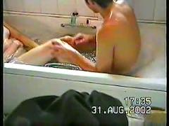 Amateur blowjob in bath