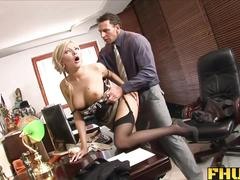 Fhuta - caught with finger in pussy, fucked by the boss