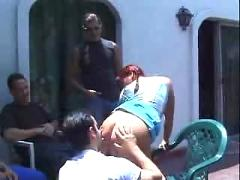 Redhead katija gangbanged outside by guys dp  gang bang