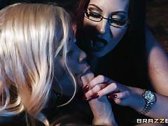 Ffm threesome with busty milfs