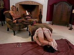 Mean mistress plays with her slave's gaped asshole