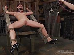 Mistress whips her slave's cunt