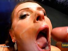 Busty amateur slut is anal riding and receives bukkake sperm