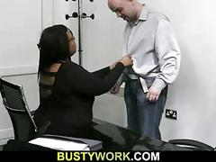 Big titted black fatty rides white meat