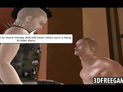 This is a 3d recorded game scene with punks who fight over a babe