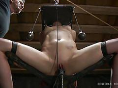 milf, bdsm, torture, black hair, basement, electrocuted, restraints, face torture, infernal restraints, elise graves