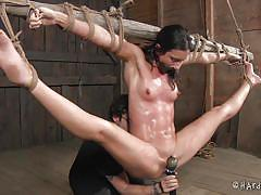 Flat chested muscle bound babe gets hogtied