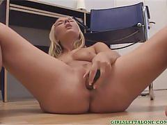Busty blonde babe jane toys her pussy in solo.