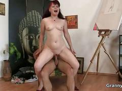 Hot mature lady jumps on his cock