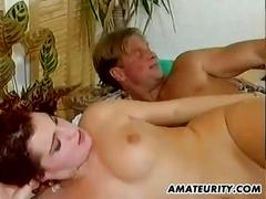 Homemade amateur anal threesome with busty girl and facial shot
