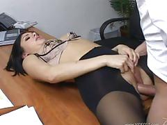 Brunette secretary in hot pantyhose fucking boss
