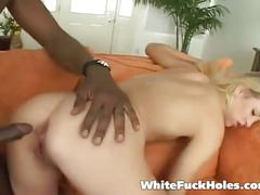 Sexy blonde taking big black cock in her holes