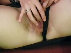 Cute brit masie fingers and toys her hairy cunt