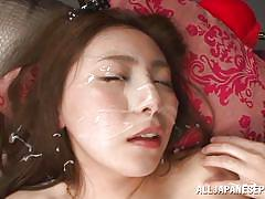 Japanese girl masturbates and gets a cum load