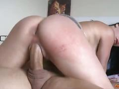 Big titted brunette amateur rides big stick