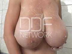 big tits, masturbation, striptease, ddfbusty, big-boobs, teasing, masturbate, bathroom, brunette, high-heels, lingerie, shaved-pussy, tattoo, solo, natural-tits, huge-tits, ukrainian, solo-girl