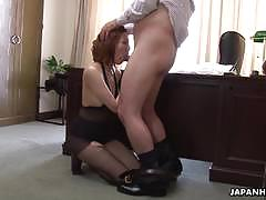 Hot and moaning asian yuna is vibed and sucks cock