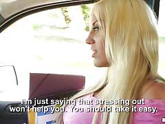 Blonde babe sucks cock in car