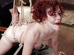 slave, double penetration, hogtied, dungeon, dildo fuck, redhead babe, nipple clamps, rope bondage, hogtied, kink, ingrid mouth