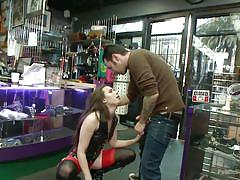 stockings, blowjob, humiliation, blindfolded, shop, leash, public disgrace, pov, brunette babe, public disgrace, kink, steve holmes, casey calvert, tommy pistol