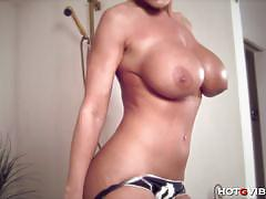 Big ass and big titted milf enjoys hot solo fun.