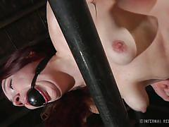 milf, bondage, bdsm, redhead, vibrator, tied up, ball gag, red ass, nipple clamps, stick with dildo, restraints, infernal restraints, maggie mead