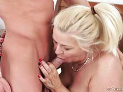 Mature blonde riding on a fresh stiff cock