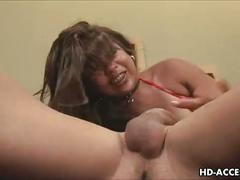 Horny asian babe gets face full of cum