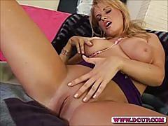 Horny busty milf tiana fingers her wet hole deeply