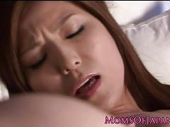 Horny japanese mom yuna shira satisfying her cunt.