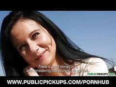 Public pickups-hot brunette at a restaurant