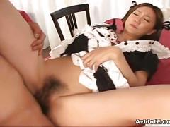 Hairy japanese babe getting fucked.
