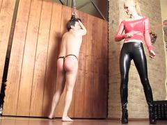 Caning by hot mistress - expose your ass, slave!