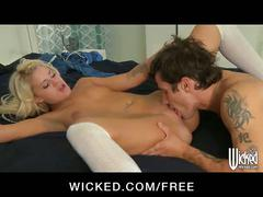 Sexy schoolgirl in stockings takes a study break to fuck her man