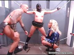 Bald master has two female slaves