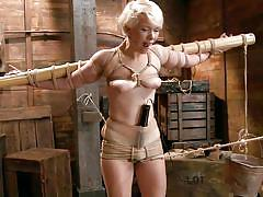 milf, blonde, bdsm, vibrator, moaning, tied up, ropes, shibari, wooden bar, hogtied, kink, lexi larue