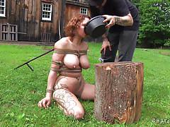 milf, blonde, bdsm, outdoor, humiliation, busty, rope, screaming, water, cage, tied up, drowning, shibari, hard tied, rain degrey
