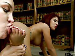 lesbians, redhead, babes, brunette, foot worship, pussy fingering, toe fucking, detention, foot worship, kink, liv aguilera, gabriella paltrova