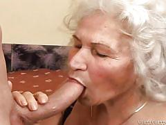 Granny and a young cock @ grandma's hairy pussy