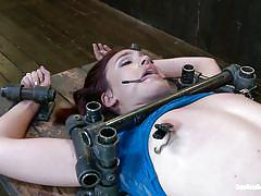 bdsm, spanking, spread legs, executor, clamps on nipples, tied on table, tongue torture, device bondage, kink, jodi taylor