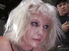 milf, tattoo, blonde, pain, bdsm, dungeon, tied up, from behind, shibari, rope bondage, sexually broken, cherry torn, matt williams
