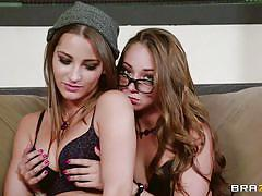 lesbians, babe, round ass, high heels, glasses, pussy licking, fingering, couch, brown hair, hipsters, hot and mean, brazzers network, dani daniels, remy lacroix